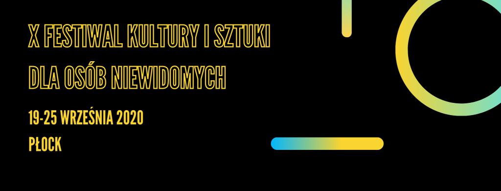 Baner z nazwą festiwalu, terminem oraz miejscem, złożony z konturów żółtych liter na czarnym tle