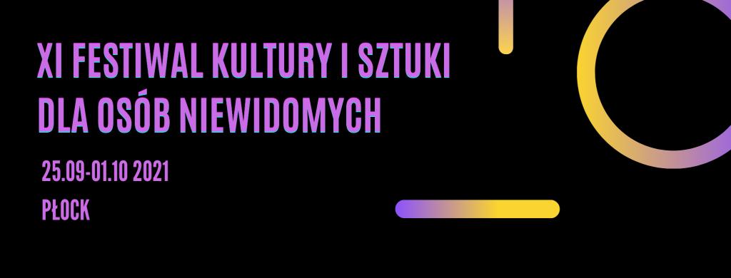 Baner z nazwą festiwalu, terminem oraz miejscem, złożony z konturów jasnych liter na czarnym tle